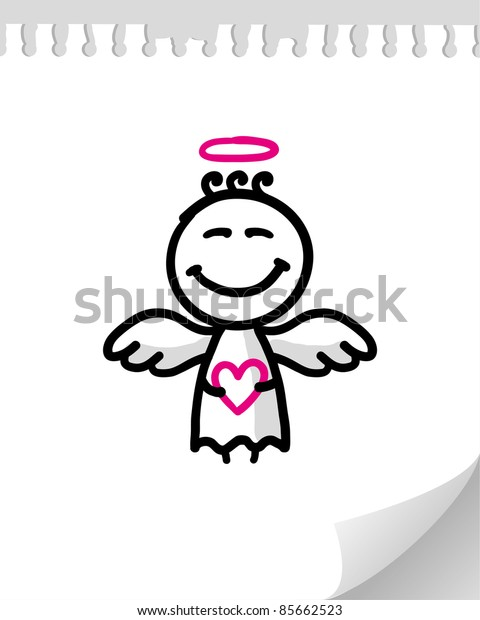 cute cartoon angel on realistic paper page