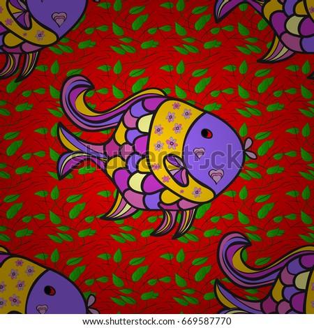 Cute Cartoon Aquarium Fish Animals Background Stock Illustration