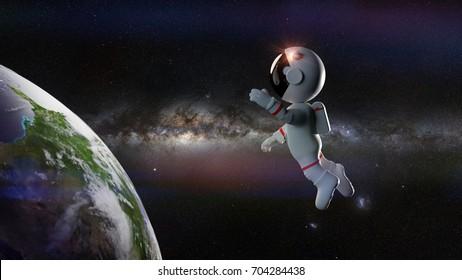 cute cartoon astronaut in orbit of the planet Earth lit by the Milky Way galaxy (3d render)