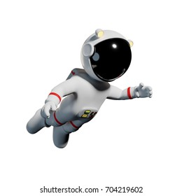cute cartoon astronaut in white space suit is weightless in zero gravity space (3d illustration, isolated on white background)