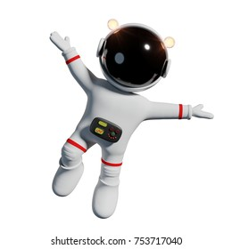 cute cartoon astronaut in white space suit is happy in zero gravity space (3d render, isolated on white background)
