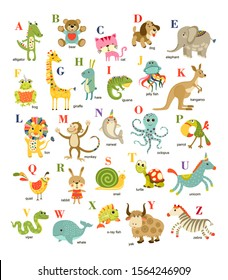 Cute cartoon baby animals alphabet on white background. Illustration for kids education,  language study. Children pattern with animals and letters, wall print. Wall decor.