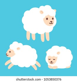 Cute cartoon baby sheep drawing set. Standing, jumping and sleeping. Adorable little lamb character illustration.