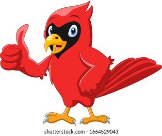 Cute cartoon beautiful cardinal bird thumb