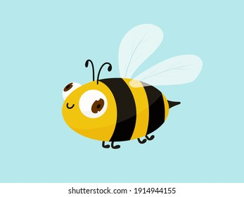 Cute cartoon bee isolated on blue background