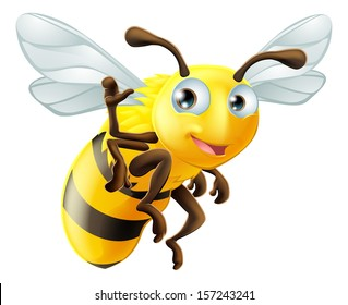 A cute cartoon bee waving