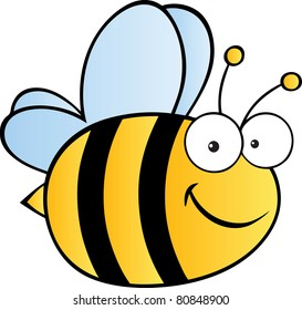 Cute Cartoon Bee.Raster illustration . Vector version is also available