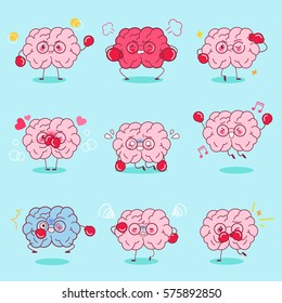 cute cartoon brain do different emotion with blue background