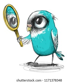 Cute cartoon budgie with blue plumage looks inadvertently his reflection in the mirror