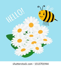 Cute cartoon bumblebee and flowers field illustration. Cartoon bumblebee and flowers