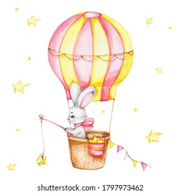 Cute cartoon bunny flying on balloon and yellow stars; watercolor hand draw illustration; can be used for kid poster or baby shower; with white isolatde background