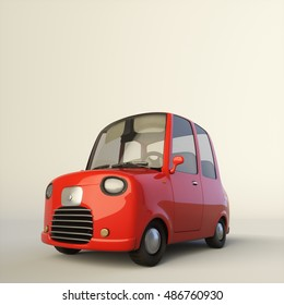 Cute cartoon car. Red color. Near lower view. 3d illustration