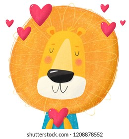 Cute cartoon character lion illustration. Children's illustration with lion and heart. You can use the print design for t-shirts, posters and cards. Valentine's day card