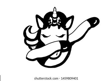 cute cartoon characters unicorn making dap pose illustration black white colors