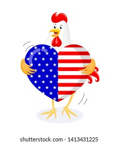 Cute cartoon chicken holding flag of the United States in the form of heart. 4th of July. Happy Independence Day. Illustration isolated on white background.