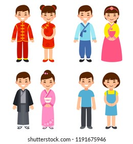 Cute cartoon children in traditional costumes of Asian countries: China, Korea and Japan, and everyday clothes. Isolated clip art illustration.