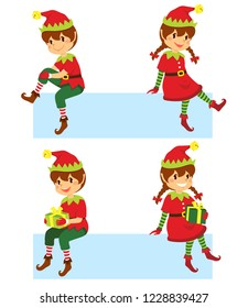 Cute cartoon Christmas elves sitting on a banner in different poses