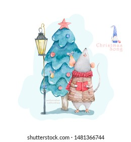 Cute cartoon christmas rat mouse and blue forest tree, vitage style lamp christmas card. Watercolor hand drawn animal illustration. New Year 2020 holiday drawing gift card isolated background