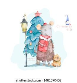 Cute cartoon christmas rat mouse with dog and blue forest tree, vitage style lamp christmas card. Watercolor hand drawn animal illustration. New Year 2020 holiday drawing gift card isolated background