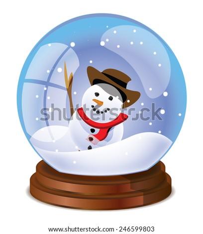 A Cute Cartoon Christmas Snow Globe With A White Snowman Inside