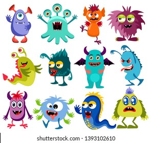 Cute cartoon colorful mosters with different emotions collection, illustration