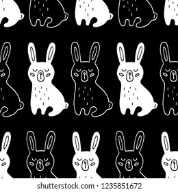 Cute cartoon coney pattern with hand drawn coney. Sweet raster black and white coney pattern. Seamless monochrome doodle coney pattern for textile, wallpapers, wrapping paper, cards and web.