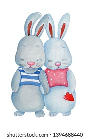 Cute cartoon couple of bunny rabits with red heart. Watercolor hand drawn illustration. Isolated on white.