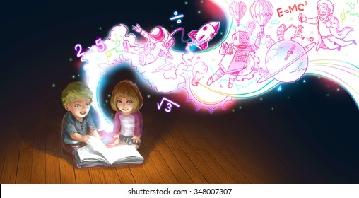 A cute cartoon couple of Caucasian children boy and girl are reading book on the floor while their edcucation knowledge and creative imagination flow like a magic stream (graphic illustration)