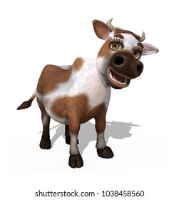 A cute cartoon cow - 3d render.
