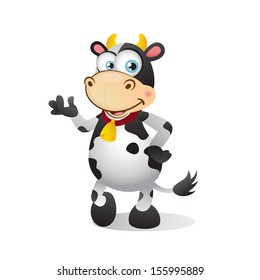 Cute cartoon cow presenting and talking