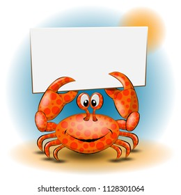 A cute cartoon crab holds an empty white banner. Illustration in a round design for your summer advertising creative project