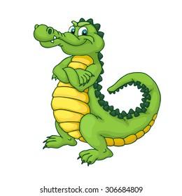 Cute cartoon crocodile. Happy green alligator isolated on white background.
