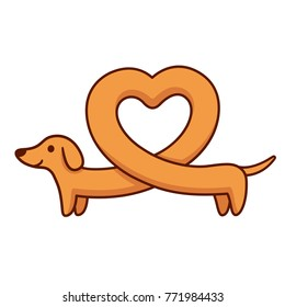 Cute cartoon dachshund with heart shaped body, funny long wiener dog. St. Valentines day greeting card illustration.