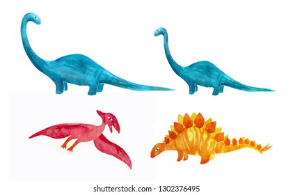 Cute cartoon dinosaurs. Hand drawn by waterclors on white background.  Creative childish characters for fabric, design, textile  or background.