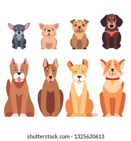 Cute cartoon dogs set sitting with smiling muzzle and hanging out tongue flat raster isolated on white. Lovely purebred pets illustration for vet clinic, breed club or shop ad