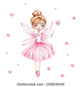 Cute cartoon fairy in pink dress with magic wand and wings; watercolor hand draw illustration; with white isolated background