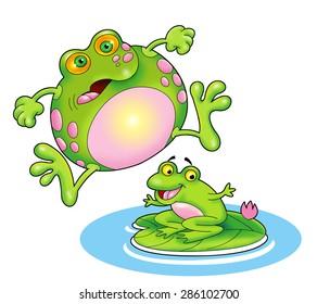 cute cartoon fat frog
