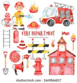 Cute cartoon fire station, fireman, fire truck and fire equipment. Watercolor set clipart for kids