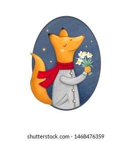 Cute cartoon fox with flowers greeting card. Fox character in oval frame. Happy fox walking at night.