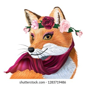 cute cartoon fox with wreath. Fox summer background. Character fox. Good Character for design. Girl fox. Idea for T-shirt design