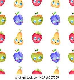 Cute cartoon funny fruits seamless pattern on white background. Pear, apple, raspberry, plum