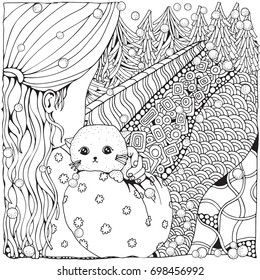 Cute cartoon girl with cat. Winter. Snowing. Adult Coloring book page. Firs. Christmas trees. Black and white. Black and white.