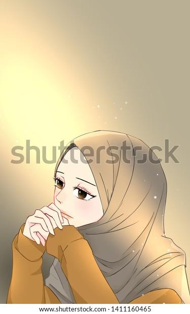 Cartoon Hijab Girl Anime Diseno De Camisa