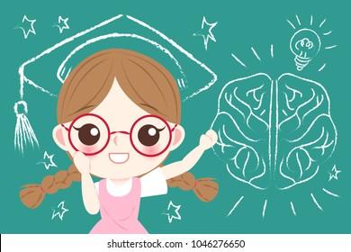 cute cartoon girl student with brain on the blackboard