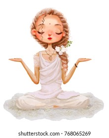 cute cartoon girl in yoga lotus pose