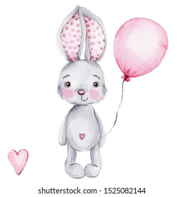Cute cartoon grey bunny with balloon; watercolor hand draw illustration; with white isolated background