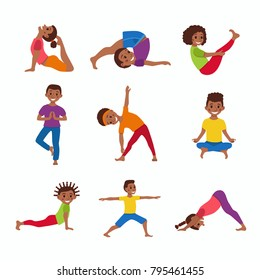 Cute cartoon gymnastics for children and healthy lifestyle sport illustration.  concept happy African kids exercise poses and yoga asana set for fitness design