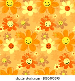 A cute cartoon happy floral background pattern.