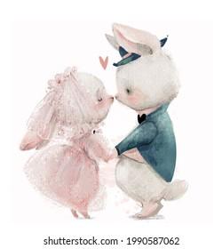 cute cartoon hares wedding couple kissing