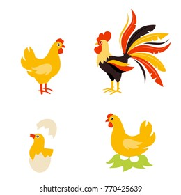 Cute Cartoon hen rooster and chicken baby. Cartoon chicken bird isolated on background. Chicken hatches from the egg. The hen incubates the eggs.